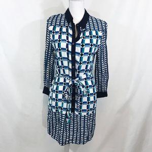 Anthro Maeve Mod Plaid Button Down Blue Shirtdress
